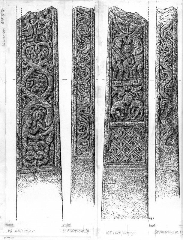 Digital image of drawing of cross-shaft no 19, showing face, reverse and side panels.