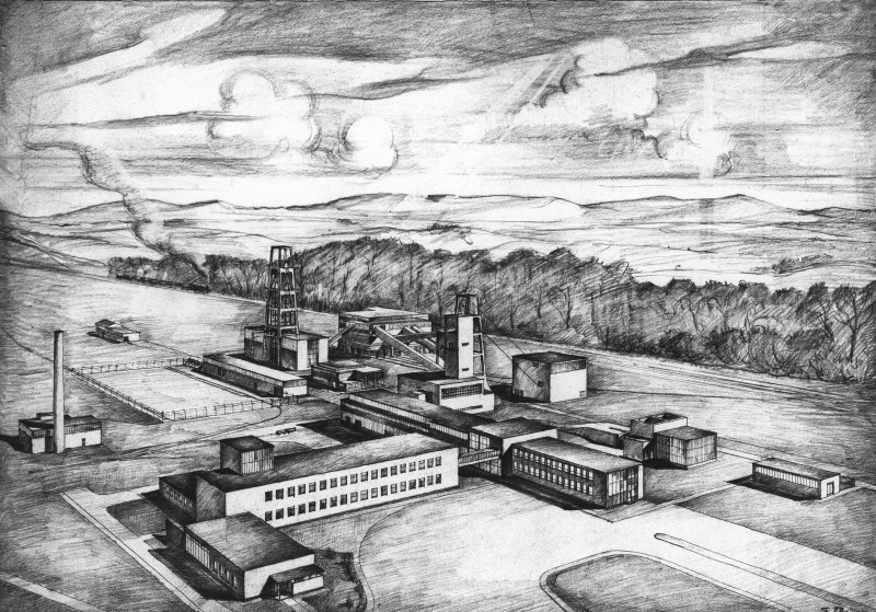 Bilston Glen Colliery. Photographic copy of drawing of new model colliery by NCB Scottish Region architect, Egon Riss.