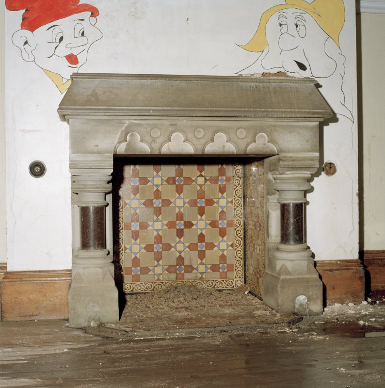 Interior. Detail of fireplace in hall.