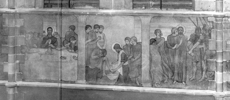 Catholic Apostolic Church, interior, nave, North wall Detail of mural; Last Supper, Washing of Feet, The Betrayal. Digital image of ED/8134.