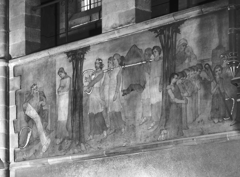 Catholic Apostolic Church, nave, South wall Detail of mural showing scenes from the Old Testament; the Life of David. Digital image of ED/13856.