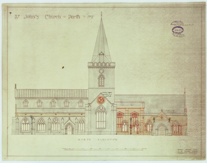 Elevation of St John's Kirk, Perth, as existing and showing additions and alterations.