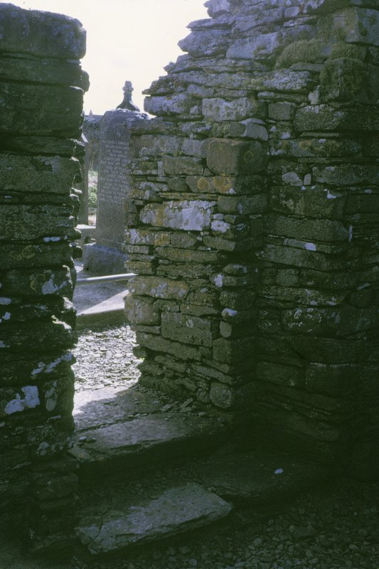 "Copy of colour slide showing detail of St Mary's Chapel Crosskirk, Caithness Insc: ""Interior of south doorway showing recessed jamb"" NMRS Survey of Private Collection  Digital Image Only"