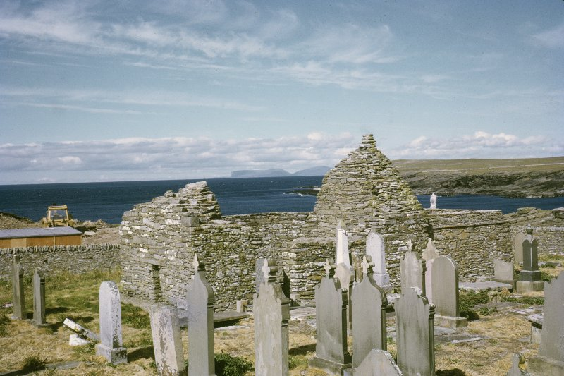 "Copy of colour slide showing general view of St Mary's Chapel Crosskirk, Caithness Insc: ""General view from S.W."" NMRS Survey of Private Collection  Digital Image Only"