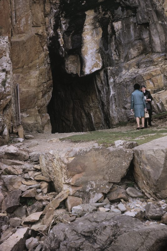 Copy of colour slide showing view of St Ninian's Cave, Physgill, Wigtownshire NMRS Survey of Private Collection  Digital Image Only