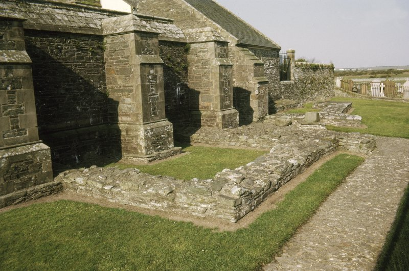 "Copy of colour slide showing detail of Whithorn Priory. Insc: "" Early structure at east end of crypt. 'Candida Casa' "" NMRS Survey of Private Collection  Digital Image Only"
