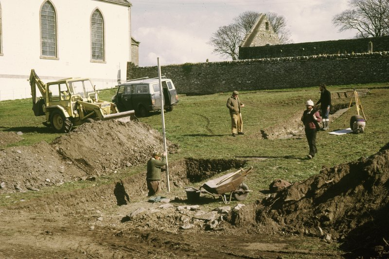 "Copy of colour slide showing view of excavations at Whithorn Priory. Insc: ""?Part of north range "" NMRS Survey of Private Collection  Digital Image Only"