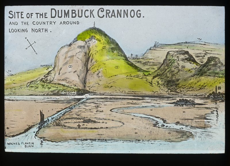 Dumbuck crannog excavation. Titled: 'Site of the Dumbuck crannog and the country around looking North'.