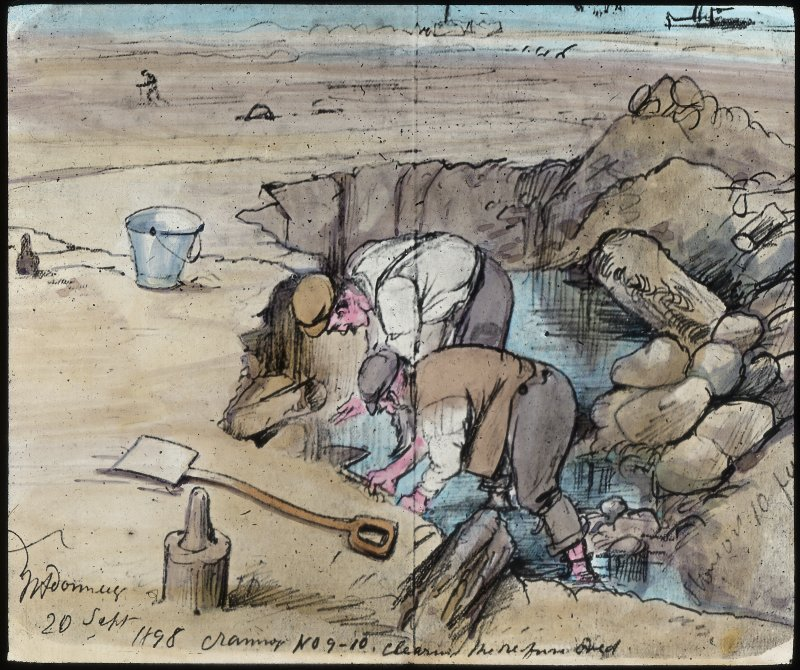 Dumbuck crannog excavation. Titled:  'Crannog No 9-10. Cleaning the refuse [bed?]'.