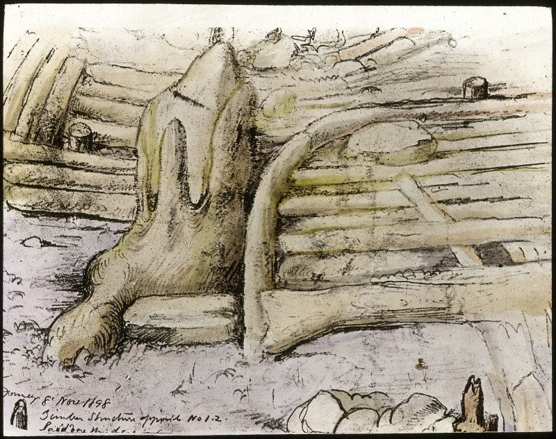 Dumbuck crannog excavation. Titled: 'Timber structure opposite no 1.2'.