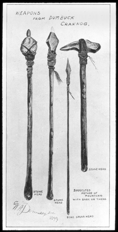 Dumbuck crannog excavation. Titled: 'Weapons from Dumbuck crannog'.