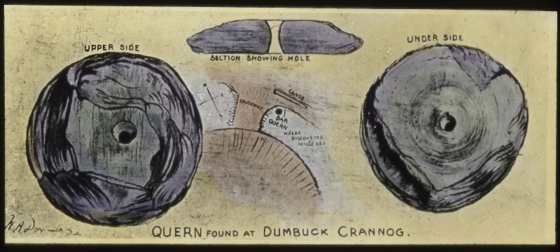 Dumbuck crannog excavation. Titled: 'Quern found at Dumbuck crannog'.