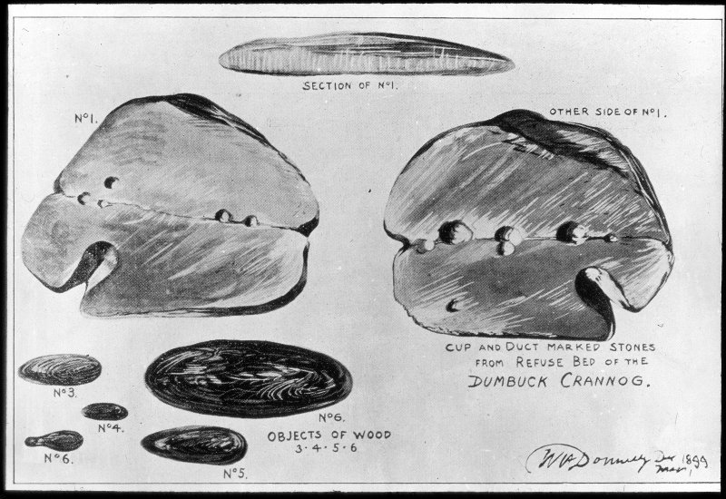 Dumbuck crannog excavation. Titled: 'Objects of wood. Cup and duct marked stones from refuse bed of the Dumbuck crannog'.