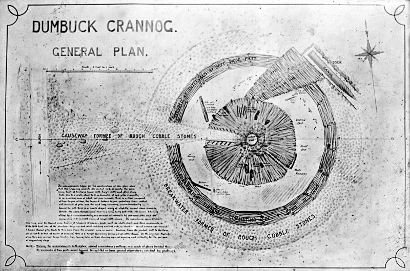 Dumbuck crannog excavation. Titled: 'Dumbuck crannog, general plan'.
