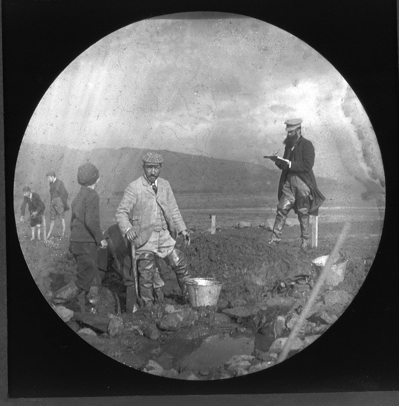 View of the excavation at Dumbuck crannog (NS47SW 8) c1898.