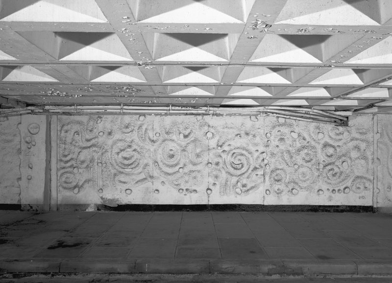 View of relief decoration on South-East wall, first floor, of South Car park, Cumbernauld. Digital image of B 45100.
