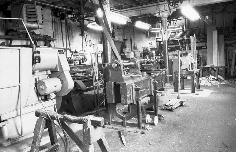 Interior View of millwright shop showing wood-bed lathe