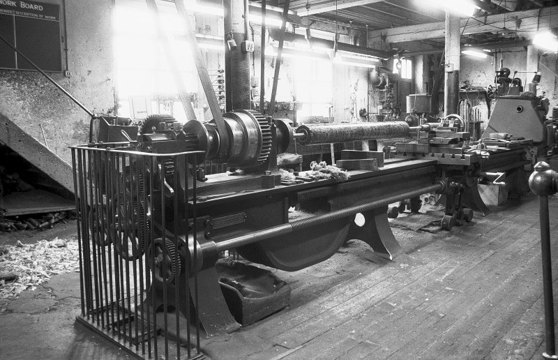 Interior View of millwright shop showing shafting lathe