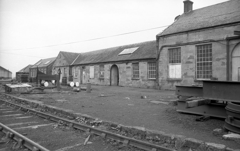View from N showing part of NE front of workshops