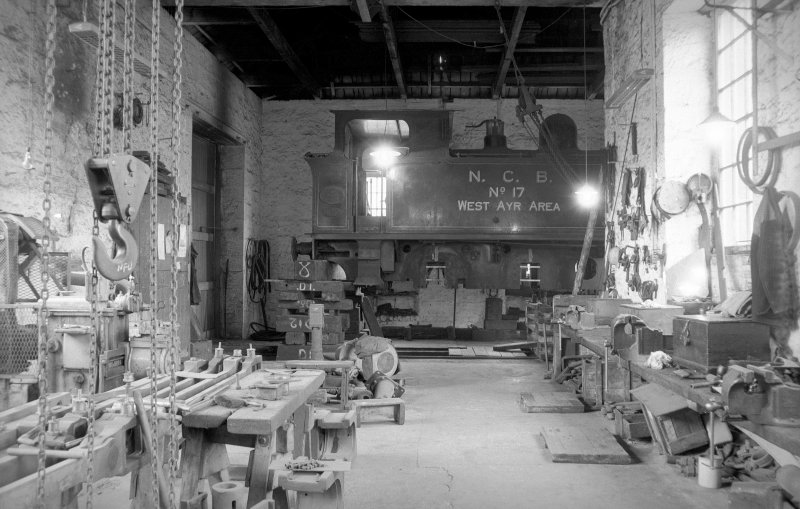 Interior View of workshops showing locomotive