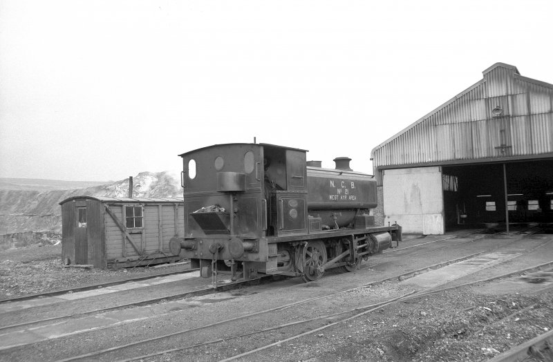 View from E showing NCB locomotive number 21 outside W locomotive shed