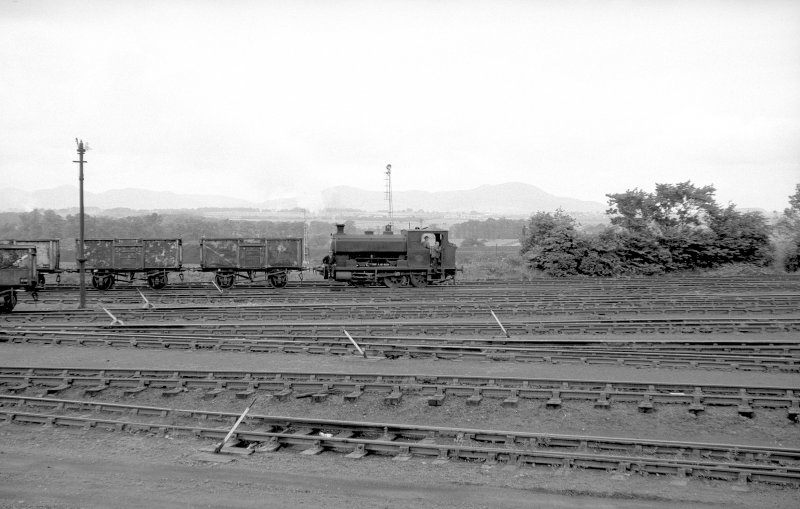 View looking W showing NCB locomotive Lothians area at colliery