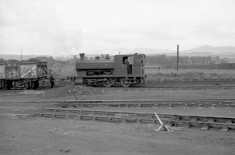 View looking WSW showing NCB locomotive Lothians area number 7 at colliery