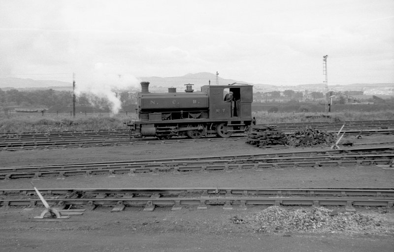 View looking W showing NCB locomotive Lothians area number 7 at colliery