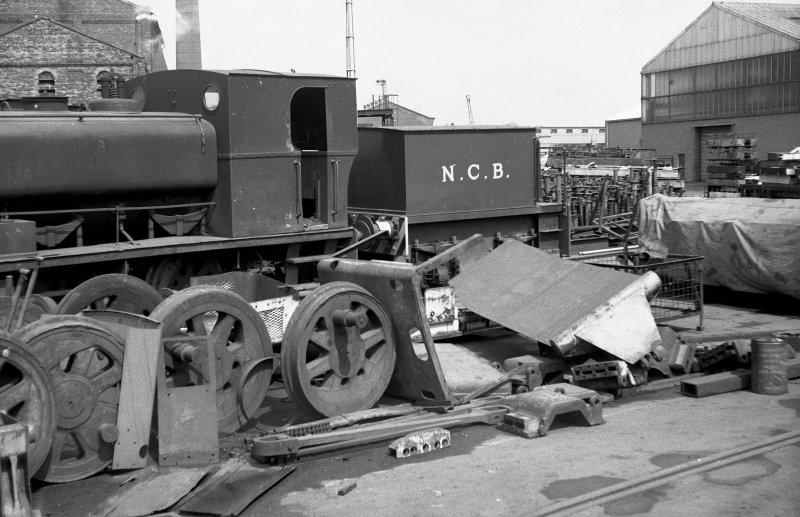 View looking N showing NCB locomotive Lothians area number 2 with wheels in foreground