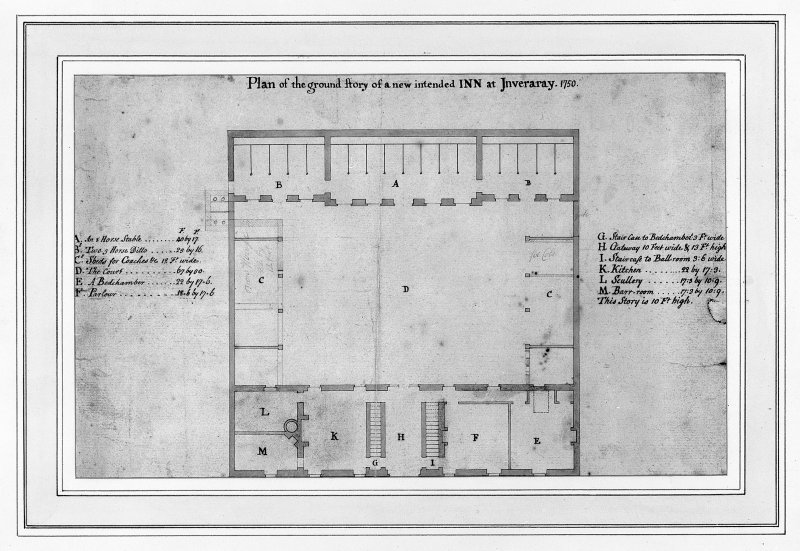 Inveraray, Inn, plan of ground floor and stables. Titled: 'Plan of the ground story of a new intended INN at Inveraray. 1750'. Digital image of AGD/501/8/P.