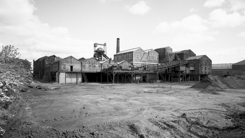 General view from S of Lady Victoria Colliery, Newtongrange. Digital image of ML/4035.