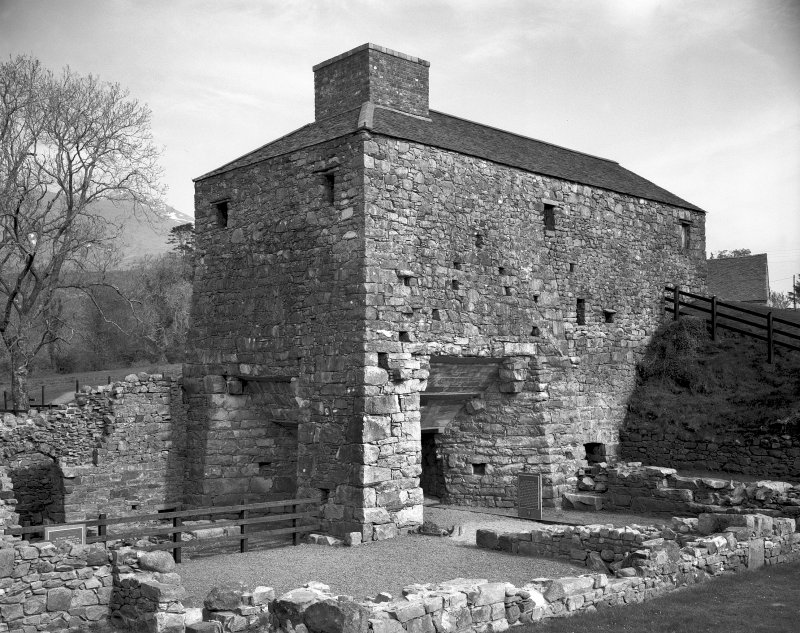 Argyll, Bonawe Ironworks, Lorn Furnace. General view of furnace from North-West, after preservation. Digital image of A/63142.