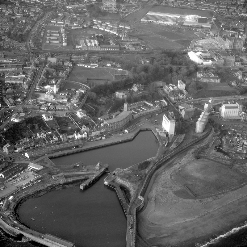 Aerial photograph, showing Nairn's Linoleum Works, Kirkcaldy Harbour and St Mary's Canvas Works.