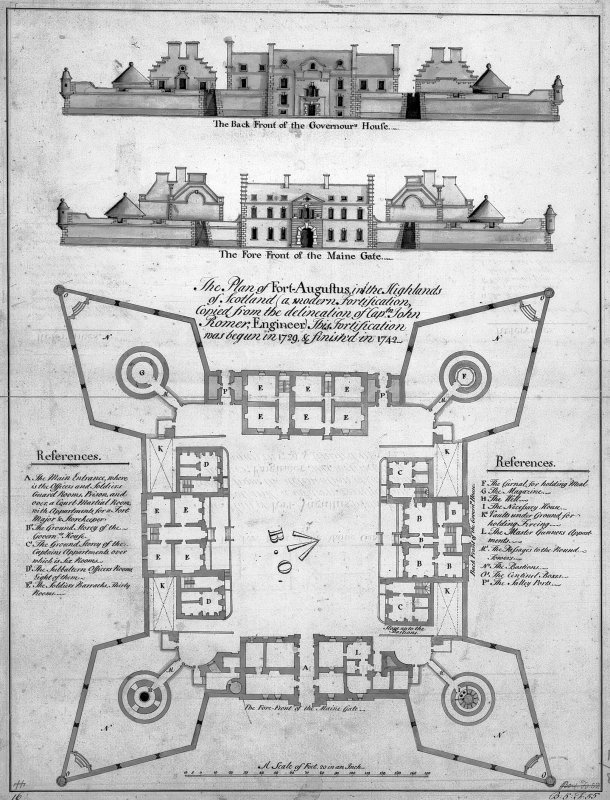 Plan & Elevations after John Romer. Digital image of IND/12/3. Board of Ordnance.18c Original drawing in National Library MS 1647. ZZ/63