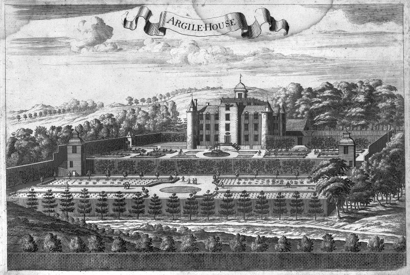 Hatton House Digital image of engraving of perspective view of hosue and garden. Entitled: 'Argile House' from Theatrum Scotiae by John Slezer.