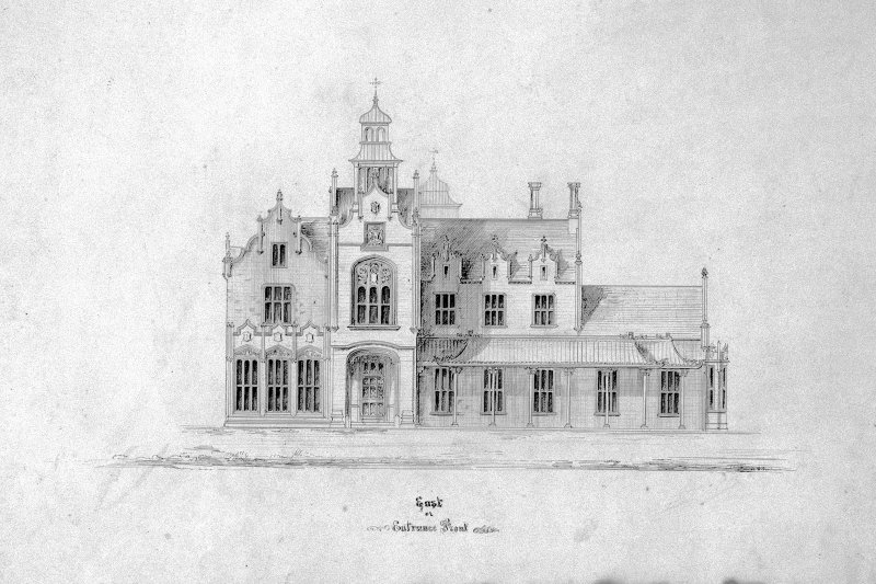 Photographic copy of unexecuted scheme for Darn Hall, Eddleston.  East Elevation.  E11722