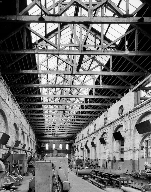Glasgow, Cook Street, Eglinton Engine Works, interior. General view of wooden roof trusses in heavy machine shop. Digital image of A/56567.
