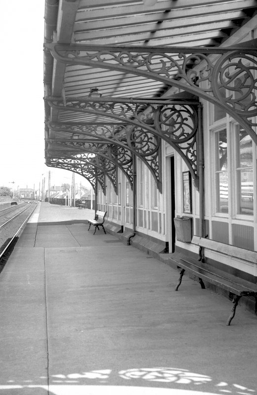 View looking ENE showing awning and cast iron brackets of S platform building