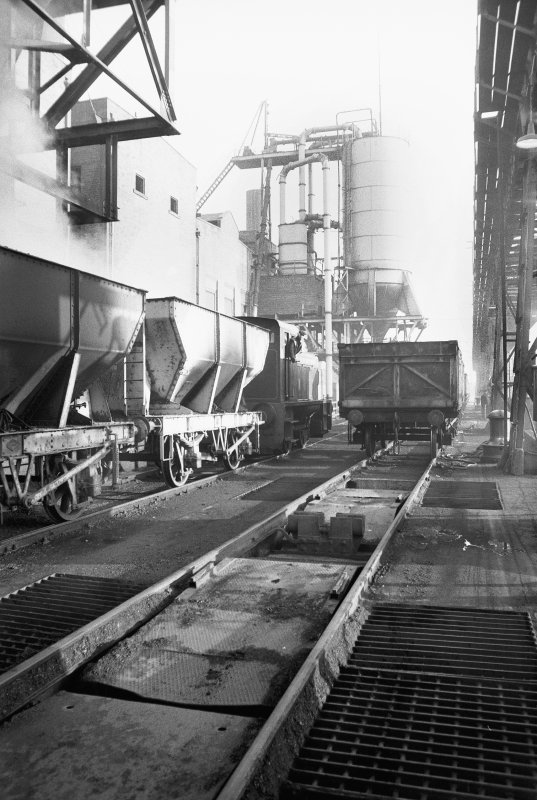 View from WSW showing shunting hopper wagons at Clydesmill Power Station