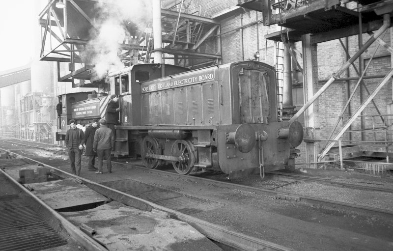 View from ESE showing SSEB diesel shunter with SSEB Clydesmill number 3 in background
