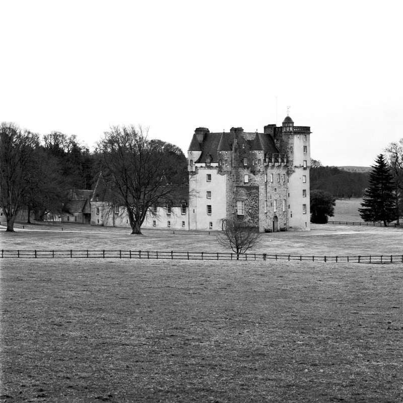 General view from SW of Castle Fraser. Digital image of C/44107.