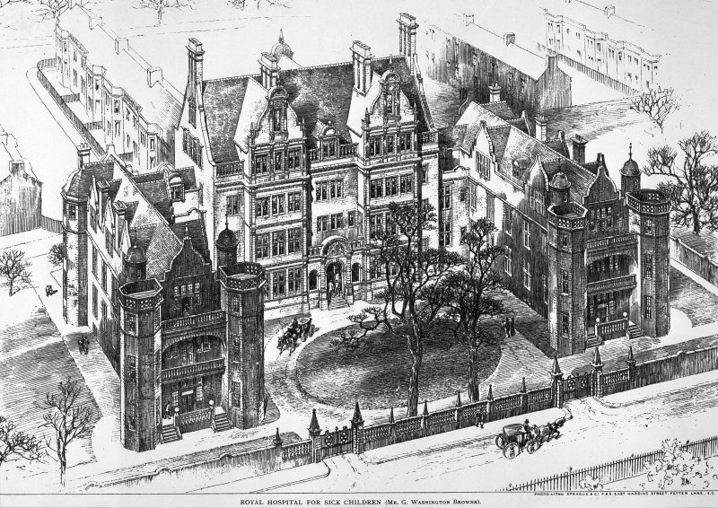 Photo-lithograph showing elevated perspective view.  Titled: 'Royal Hospital for Sick Children (Mr G. Washington Browne).  Photo-litho. Sprague & Co. 4 & 5, East Harding Street, Fetter Lane, E.C.' Illustration from The Builder, Jan 1st 1898