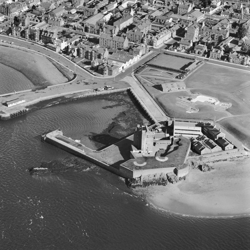 Oblique aerial photograph centred on Broughty Ferry Castle.