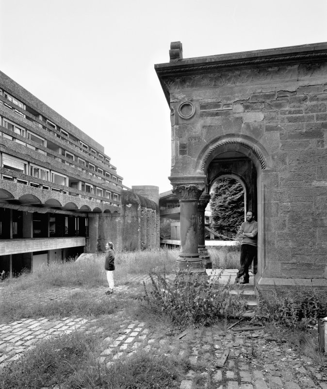 View of entrance to Kilmahew House and North side of Main Block from East with Diane Watters and Miles Horsey. Digital image of C 50206.