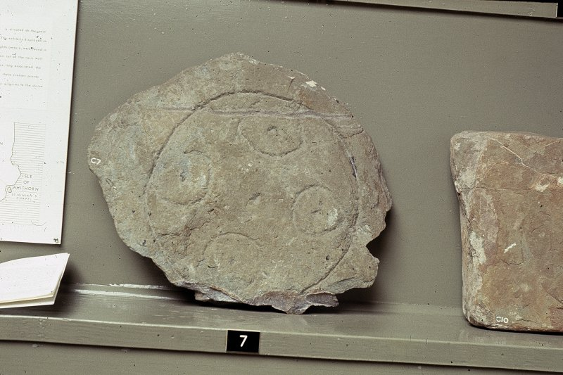 "Copy of colour slide showing detail of stones in Whithorn Priory museum- Insc: "" Stones from St. Ninian's Cave, Physgill,  Whithorn Museum C7 "" NMRS Survey of Private Collection  Digital Image Only"