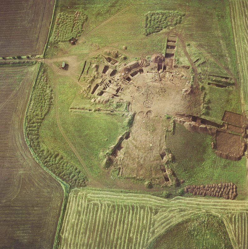 Broxmouth, oblique aerial view, showing the excavation of the fort. Digital image of EL/4016/CN.