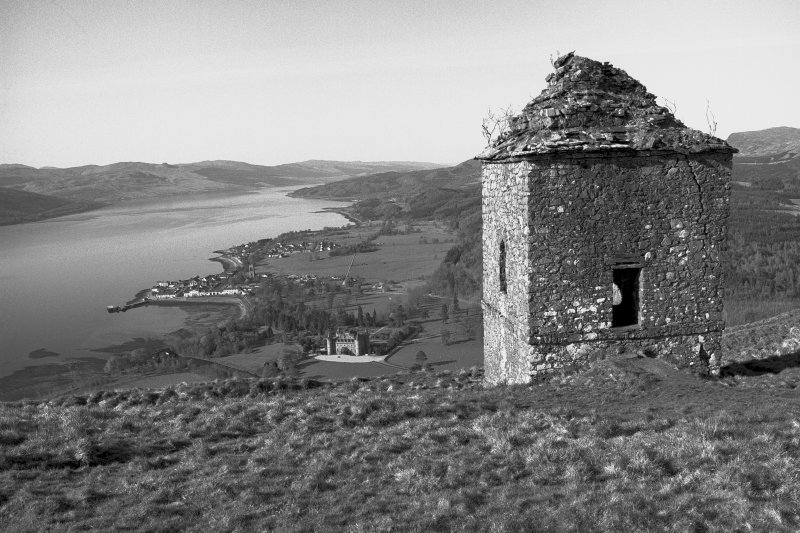 Inveraray Castle Estate, Dun na Cuaiche Tower. General view from North-East, with the castle and water below.
