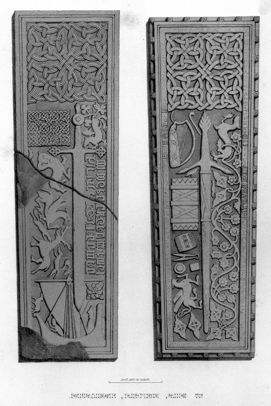 Sculptured grave slabs (RCAHMS 21/SDD 9 and RCAHMS 22/SDD 10) at Keills, Knapdale.  From J Stuart, The Sculptured Stones of Scotland, vol.ii, pl.lvii.