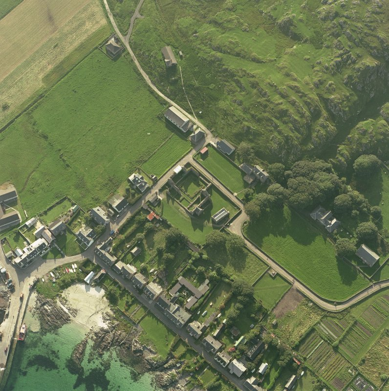 Iona, Iona Nunnery, Church & Manse. Oblique aerial view from North-East. Digital image of C/40423/CN.