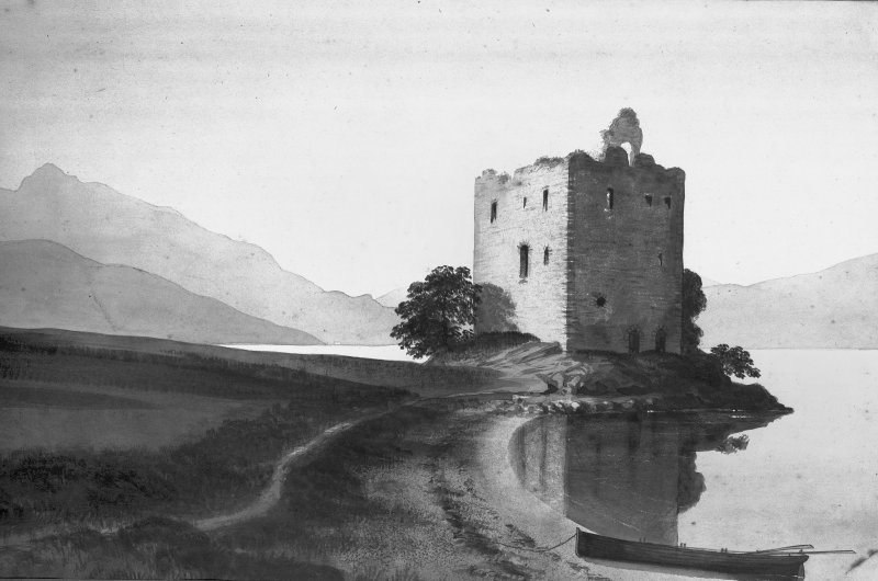 Carrick Castle. Photographic copy of sepia wash drawing, general view from South.